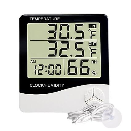 Grande Monitor Digital Termómetro Multi-función Temperatura y Humedad Monitor Interior y Al aire libre