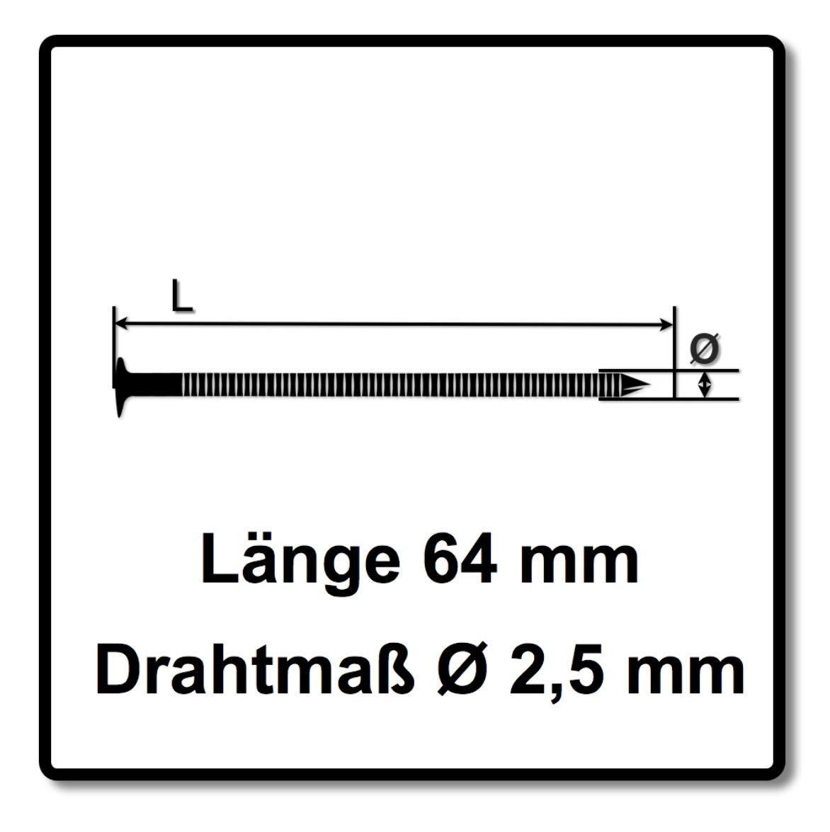 Bostitch Coilnägel Ringschaft blank 2,50 x 64 mm 9000 Stück ...