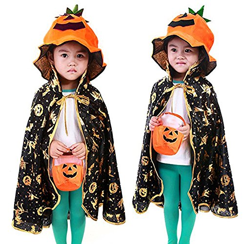 Halloween Pumpkin Costume Suit Party Clothing Witch Cloak for Children (Fat Halloween Witch)