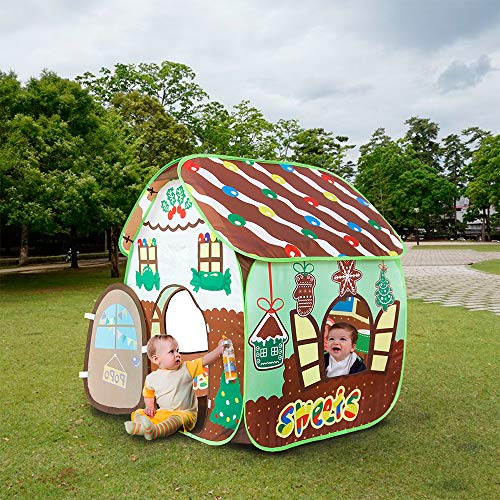 Homfu Play Tent Kids Indoor Outdoor Playhouse Boys Girls Child Gift Gingerbread House