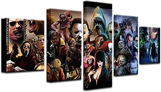 Amazon Com Doludo 5 Piece Modern Horror Movie Characters Poster Painting On Canvas Wall Art Picture For Living Room Decor Print Poster Home Kitchen