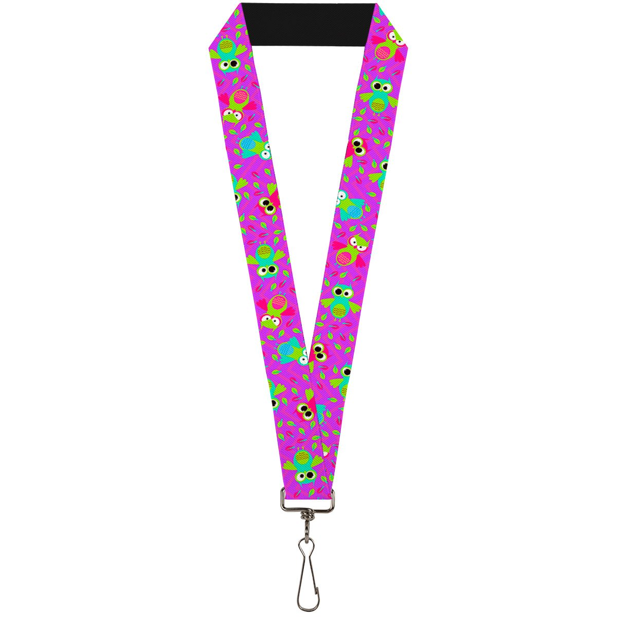 Bright Colorful Cute Owls with Feathers All Over on Fuschia Lanyard Buckle Down LY-1.0-W30632