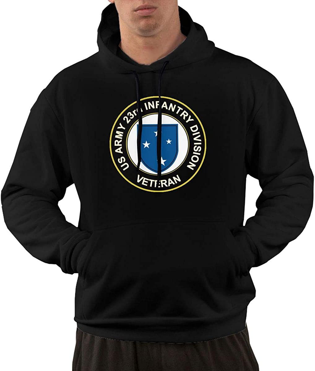 Army Veteran 23rd Infantry Division Mens Front Pocket Pullover Cotton Hoodie Sweatshirts U.S