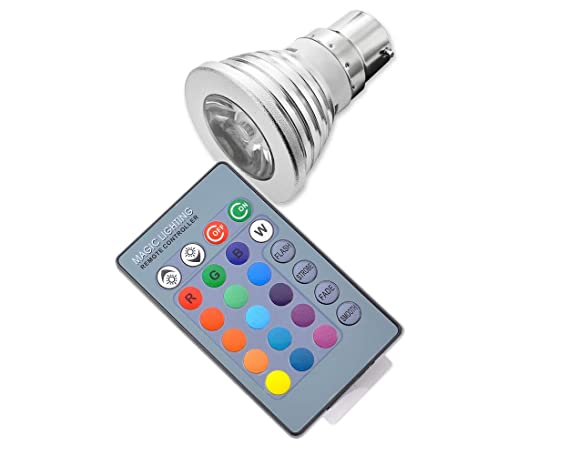 DSstyles 5 W B22 RGB LED Bombilla Multicolor Dimmable Bombillas LED Proyectores LED 16 colores Cambio