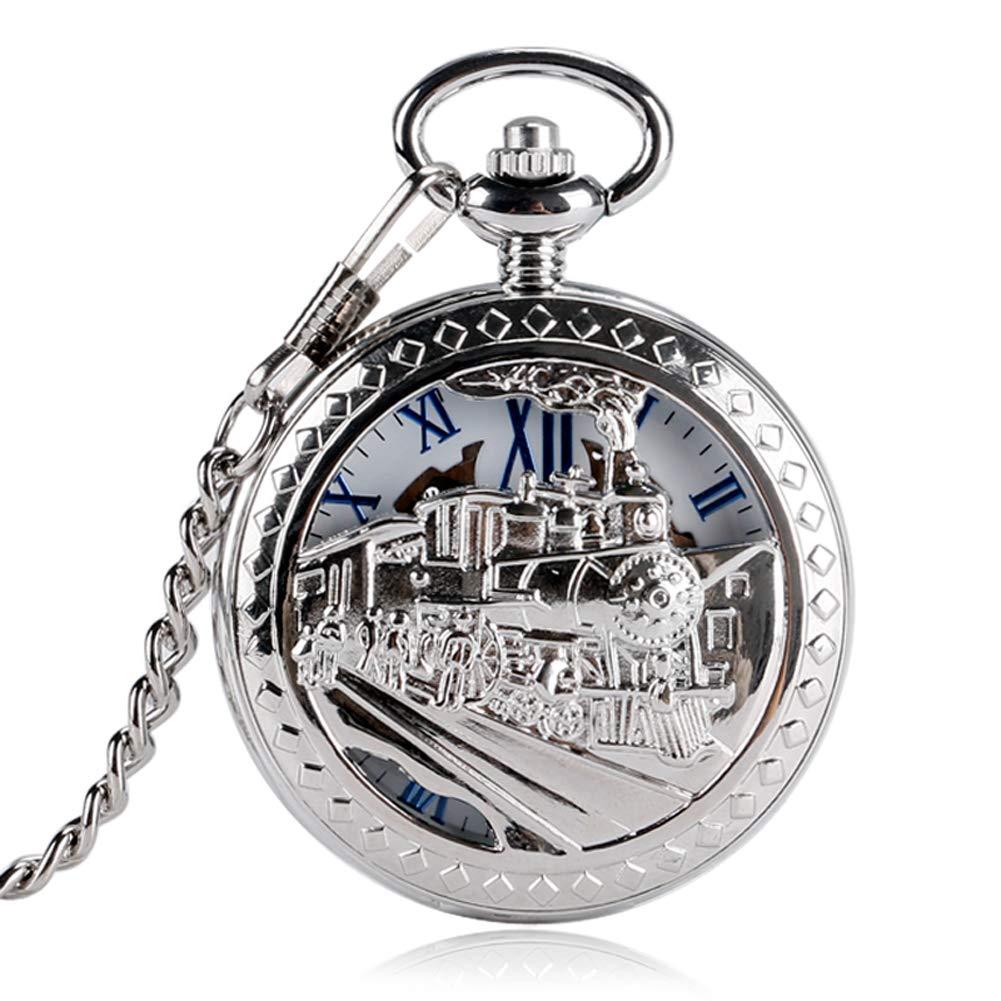 Silver Pocket Watch,Tone Train Front Locomotive Engine Design Pocket Watch,Pendant Mechanical Pocket Watch Gift