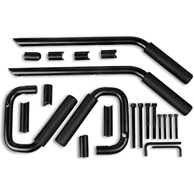 AUTOSAVER88 Front & Rear Grab Handles Roll Bar Steel Grip Handles Compatible for Jeep Wrangler JK JKU Unlimited Sports Bubicon Sahara 2007-2020 4 Doors(Black): Automotive