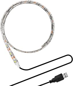ONEVER Flexible Led Strip Lights with USB Cable for TV Computer Desktop Laptop Background Home Kitchen Decorative Lighting, SMD 3528 50CM Cool White