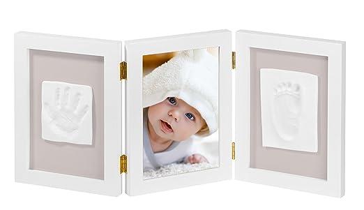 NIMAXI marco de fotos para bebé para huella de mano y pie 3D, Portafotos de madera con molde de yeso, blanco, 35x15cm