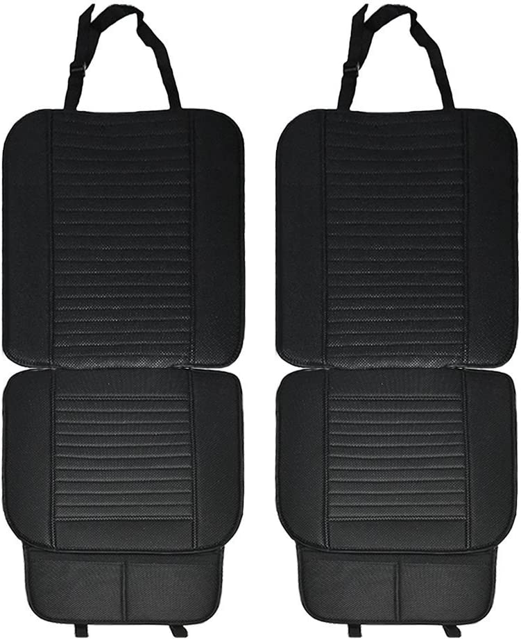 Full Size 2 PCS Breathable Universal Four Seasons Interior Front or Back Seat Covers for Auto Supplies Office Chair with PU Leather Black Big Ant Car Seat Cushion