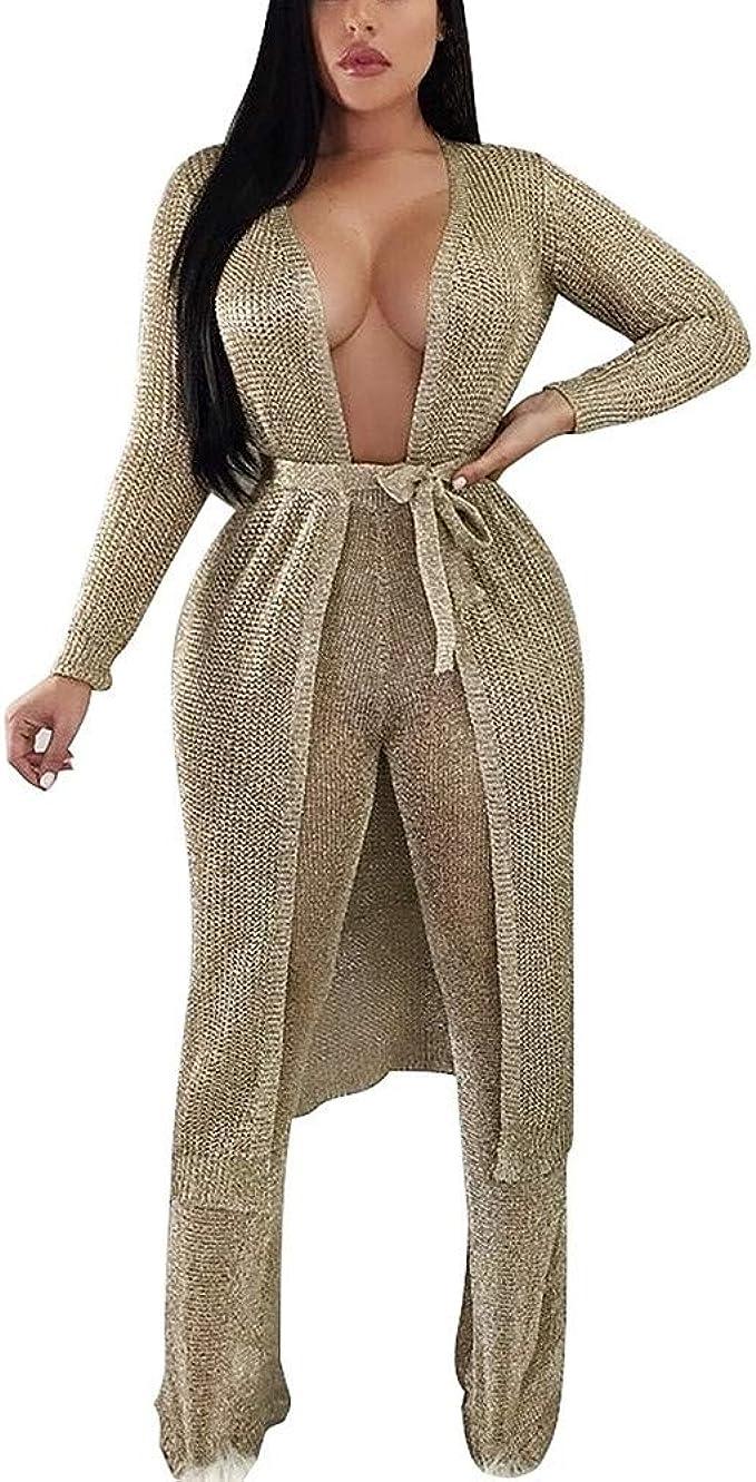 Goosuny Damen Kimono Strickjacke Strickkleid Maxikleid Mit Mode