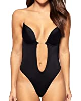 Shymay Women's Deep V Bodysuit Thong Bottom Backless Seamless U Plunge Body Suit