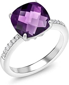 Amethyst Solid 925 Sterling Silver Spinner Ring Statement Ring Size M441