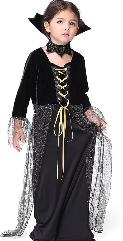 FIZZENN Disfraz de Reina Vampiro para niña niños Halloween Negro ...