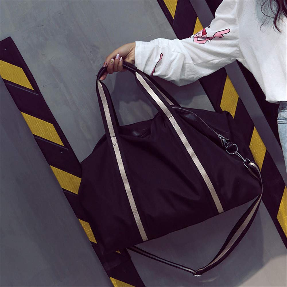 Color : Black MAODATOU Travel Duffel Bag Unisex Overnight Weekend Carry On Duffles Bags Luggage Bags Handbag Shoulder Bags Weekender Travel Bag Striped Waterproof Holdall Gym Sports Tote Bag Travel