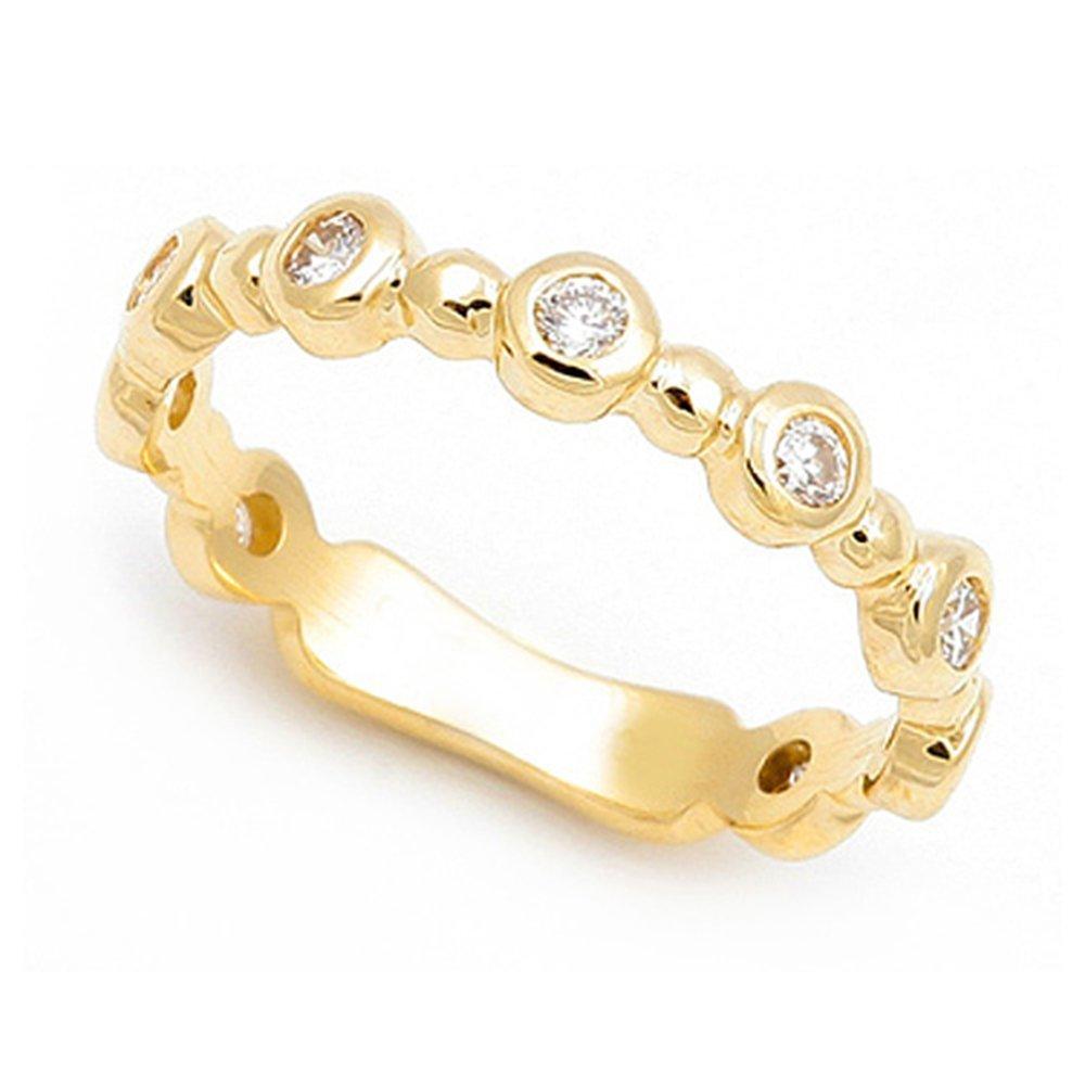 18k Yellow Gold Bezel set Diamond Semi Eternity Band Ring (G-H/SI, 1/3 ct.), 9