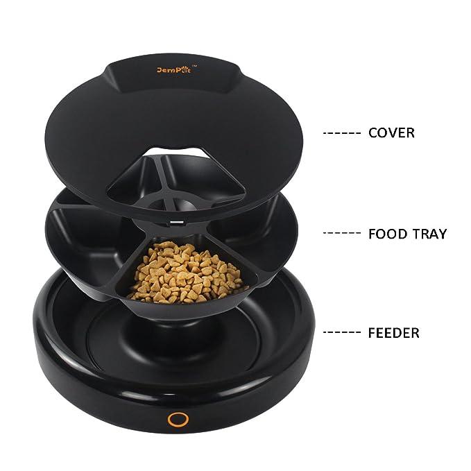 GemPet 5 comidas Alimentador programable automático para mascotas, con grabador de voz, dispensador de alimentos secos y húmedos, para perros pequeños y ...