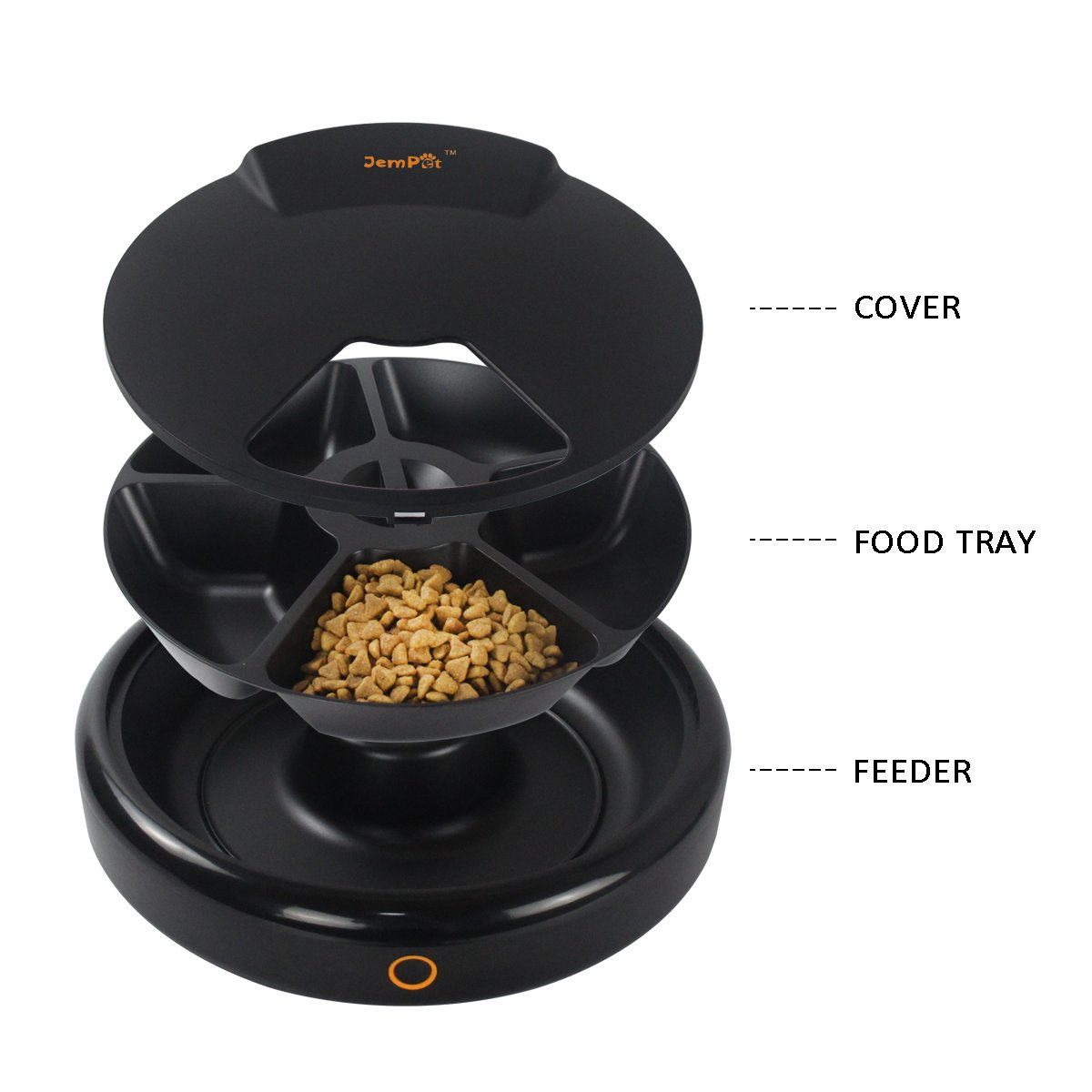 JEMPET Automatic Pet Feeder Cats Dogs, 5 Meal Trays Dry Wet Food, Auto Pet Food Dispenser Programmed Timer Voice Recording Function, 5 x 240ml by JEMPET (Image #4)