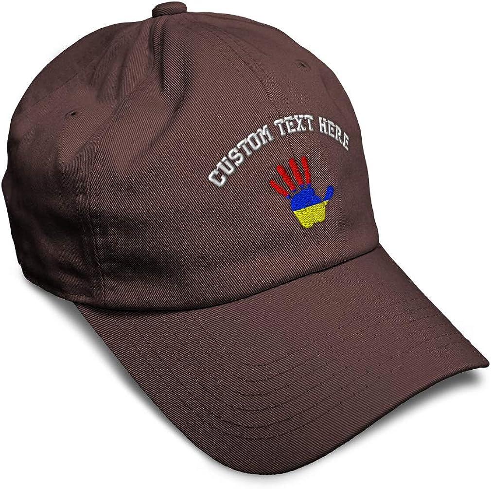 Custom Soft Baseball Cap Armenia Flag Handprint Embroidery Twill Cotton