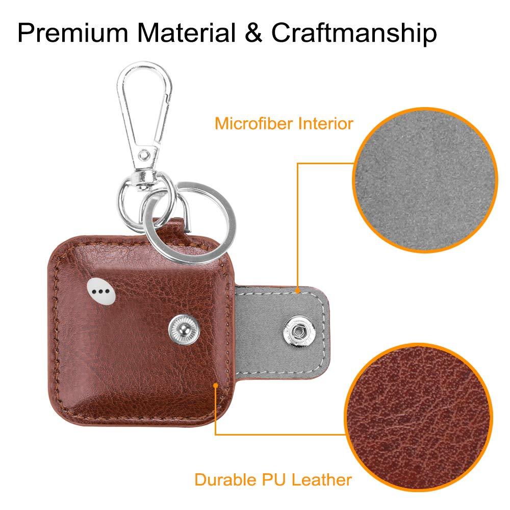 2016 /& 2018 Fintie Case with Carabiner Keychain for Tile Mate 2 Pack Anti-Scratch Vegan Leather Protective Skin Cover Black // Tile Pro//Tile Sport//Tile Style Key Finder Phone Finder