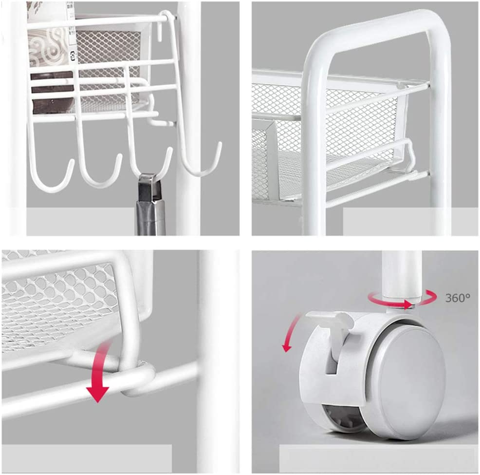 Kitchen Serving Trolley 3-Tier Serving Trolley Storage,Metal Rolling Cart Storage,Mobile Rack Organizer with Handles Locking Wheels Mesh Basket Standing Shelf Trolley with Wine Rack Color : White