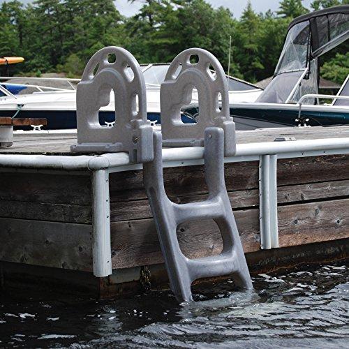 Dock Edge Dock Ladder, 4 - Step, Flip Up, Stand Off - Grey