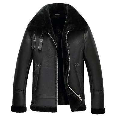 2c6bc7f61af7 Mens Shearling Coat Men Aviator Jacket Pilot Jacket Mens Fur Coat B3  Sheepskin Outwear (Black