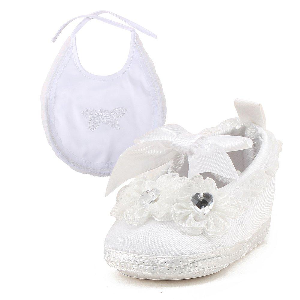 DELEBAO Blanc Chaussure Bebe Fille Baptême Pantoufle Bébé Chaussure Souple Bébé Fille