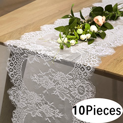 - B-COOL Vintage White Lace Table Runner for Rustic Boho Wedding Bridal Shower Decorations, Exquisite Embroidered Floral Table Runner 14 Inch x 120 Inch(10 pieces)