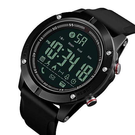 IKVRU Mens Reloj Digital Inteligente, Reloj de Pulsera Impermeable Deporte Llamada SMS notificación podómetro LED