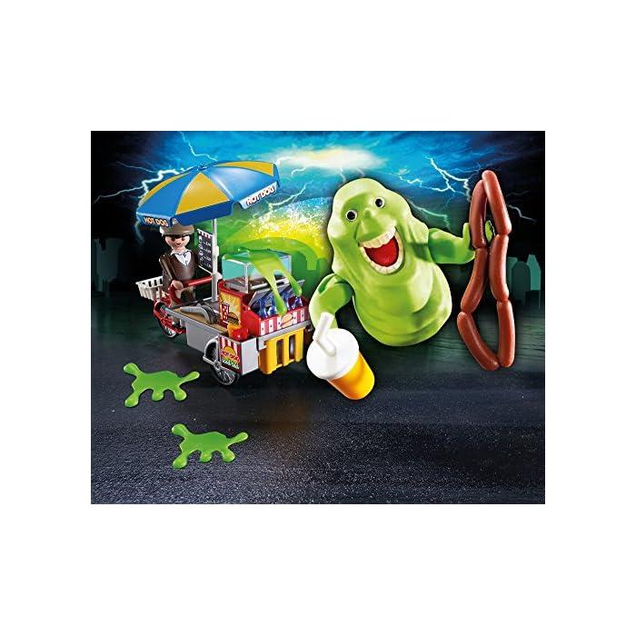 619qrGBgMCL Diversión para pequeños cazafantasmas: PLAYMOBIL Slimer con Stand de Hot Dog, vendedor y muchos accesorios con gran lujo de detalles Slimer con brazos móviles y muñecas rotatorias para poder coger accesorios de PLAYMOBIL, babas de silicona, puesto de perritos calientes con vendedor, bicicleta y mucho más Juego de figuras para niños a partir de 6 años: óptimo para el tamaño de sus manos y bordes redondeados agradables al tacto