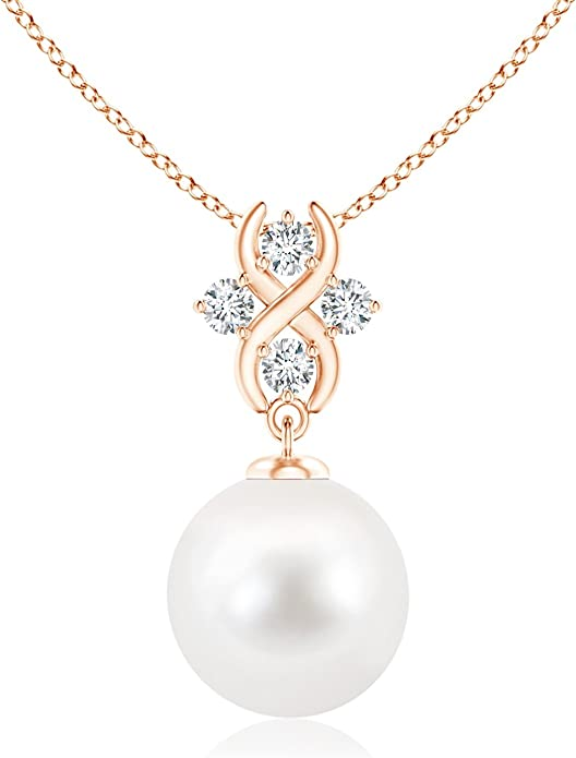 14k Yellow//White Gold Solitaire 5mm Freshwater Cultured Pearl Pendant Necklace