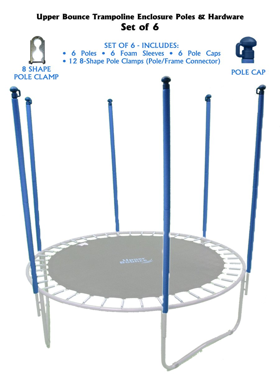 Trampoline Replacement Enclosure Poles & Hardware, Set of 6 (Net Sold Separately) by Upper Bounce