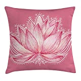 Queen Area Floral Lotus Flower Meditation Yoga Plant Asian Zen Petal Spiritual Icon Chakra Print Square Throw Pillow Covers Cushion Case for Sofa Bedroom Car 18x18 Inch, Baby Pink Cream
