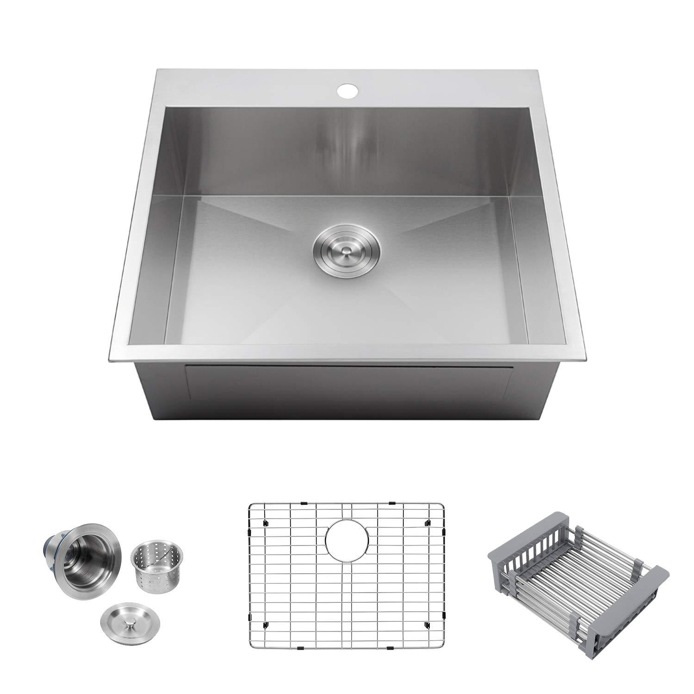 Logmey LMT2522 Luxury 25''x22'' Drop-in Topmount Single Bowl 18 Gauge Stainless Steel Kitchen Sink