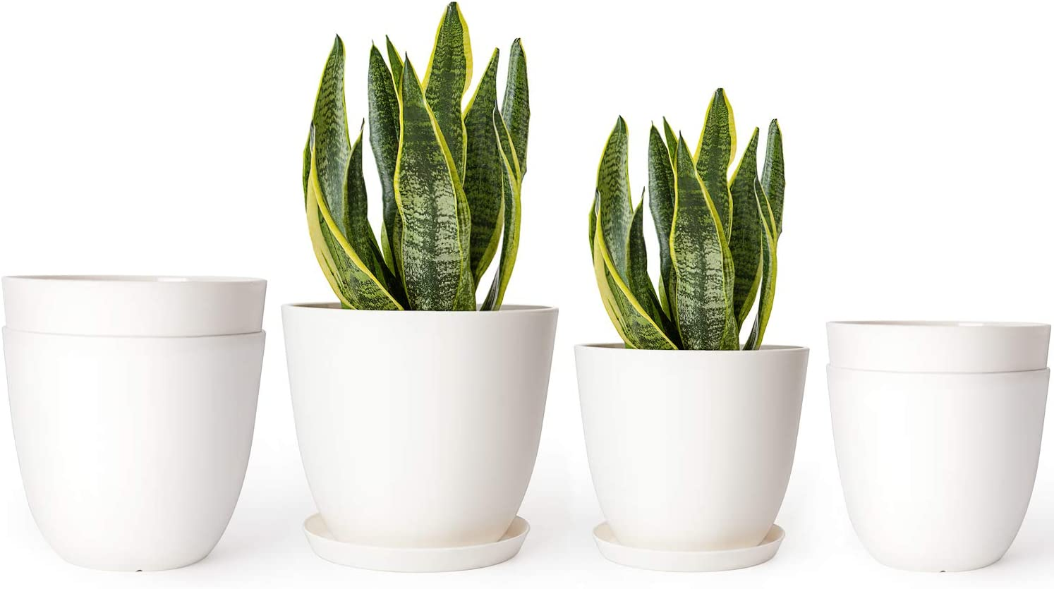 Mkono 5.5 and 6.5 Inch Plastic Planters Indoor Set of 6 Flower Plant Pots Modern Decorative Gardening Pot with Drainage and Tray for All House Plants, Herbs, Flowers, and Seed Nursery, Cream White
