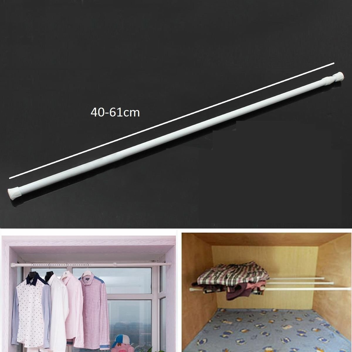 Curtain & Blind Accessories Gemini_mall® Curtain Rod Home & Kitchen Spring Loaded Extendable Telescopic Net Voile Tension Curtain Rail Pole Rod Rods White 40-75cm