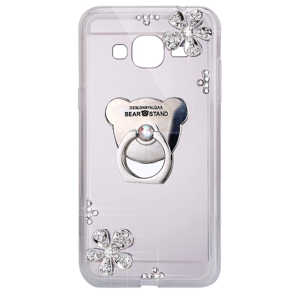 Cover per Samsung Galaxy J3 2016, Cover Samsung Galaxy J3 2016 Brillantini - Specchio Case - ISAKEN Custodia Glitter Bling Cover Caso [Ring holder], , Luxury Custodia Kickstand Bling Silicone Diamante Brillante Cristallo Lucciante Luminosa Custodia Morbido
