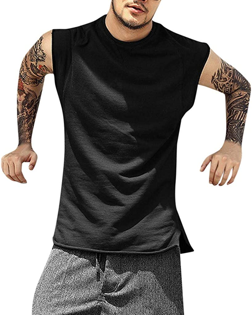 LUXISDE Mens Summer Baggy Pure Color Sleeveless O-Neck T Shirts Tops Big and Tall Blouses