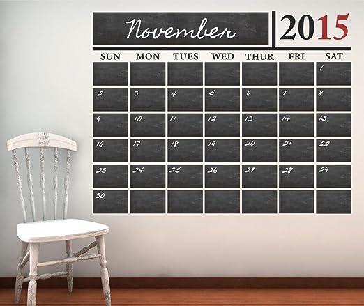 Amazon.com: Chalkboard Calendar Vinyl Wall Decal, 60