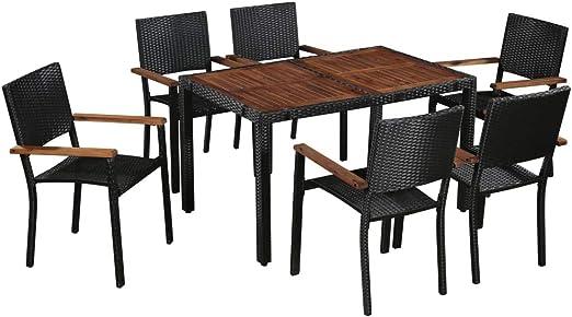 Fesjoy Juego de Comedor en el Patio Muebles de jardín al Aire Libre de 6 plazas