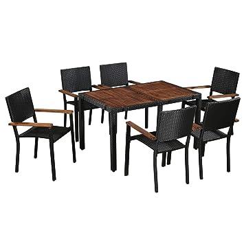 Festnight Salon de Jardin d\'extérieur 1 Table et 6 chaises en Bois d ...