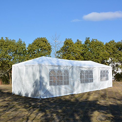 VKOSHA 11inch 35inch(3 x 9m) Eight Sides Party Wedding Tent with 8 Removable Panels Sidewalls Two Doors Two Bedrooms Waterproof Tent for Garden, Camping, Parking (White)