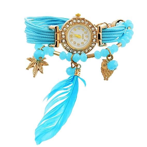 a7bf00ddd9ce44 MJARTORIA Damen Boho Feder Armbanduhr Elegant mit Strass Charms Damenuhr  Analog Quarz Uhr Für Mädchen Blau: Amazon.de: Uhren