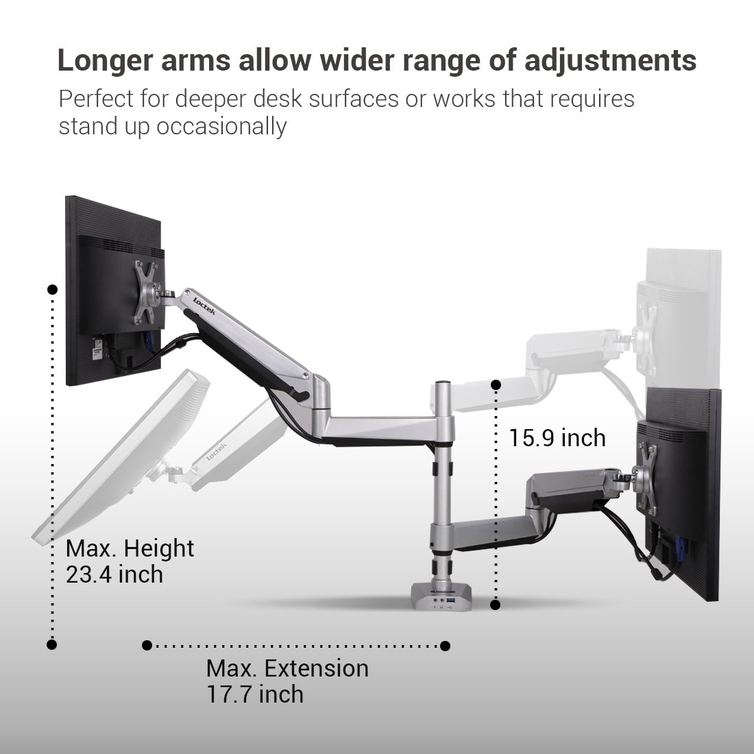 Galleon Dual Lcd Monitor Stand Desk Clamp Holds Up To 24