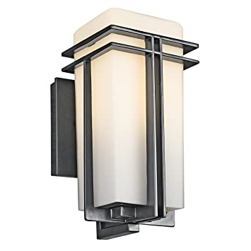 Kichler Lighting 49200BK Tremillo 12 Inch Light Outdoor Wall Lantern, Black  With Satin