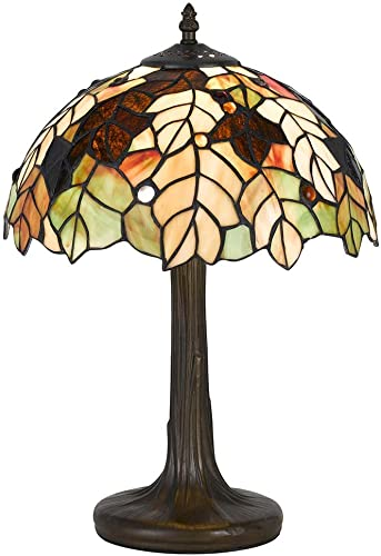 Cal Lighting BO-2376AC Tiffany Accent Lamp with Zinc Cast Base, 40-watt, Antique Brass