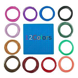 3D Printing Pen Silicone Design Mat and 12 Colors Printer Filament, findTop 3D Pen Mat and 1.75mm PLA Filament (10 Feet for Each Color), Set of 13