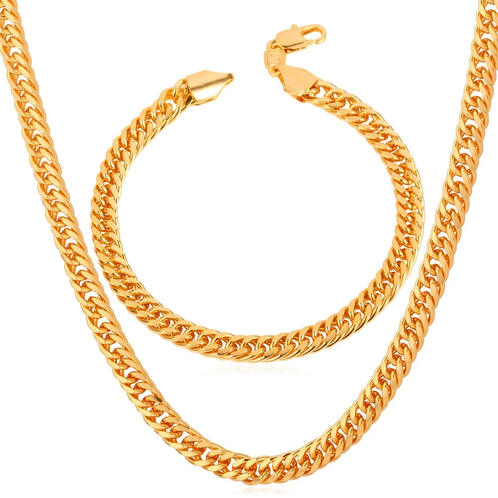 Chain Set Men Jewelry 18K Stamp Gold Plated/Platinum/Rose Gold/Black Gun Plated Franco Curb Chain Bracelet Necklace, 6mm Wide, Bracelet 8.3/Necklace 18-30 Inches U7 Jewelry U7 NH843K-18
