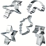 Jasonsy Unicorn Cookie Cutters Set - 5 Pcs - Unicorn,Unicorn Head,Rainbow,Shooting Star and Star,Stainless Steel Cookie Molds for Kitchen Handmade Biscuit Baking Tools
