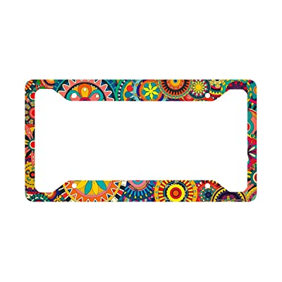 Airstrike Retro Flower License Plate Frame, Floral Pattern Car Tag Frame, Gears License Plate Holder, Cute License Plate Frame-30-716: Automotive
